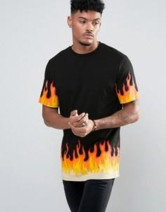 Длинная футболка с принтом пламени ASOS - Черный