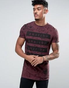 Длинная обтягивающая футболка с принтом и выбеленным эффектом ASOS - Красный