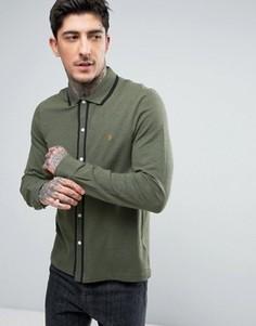 Зеленая меланжевая рубашка слим из пике с кантом Farah Jenkins - Зеленый