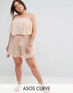 Комбинируемые шорты из жатой ткани ASOS CURVE - Розовый