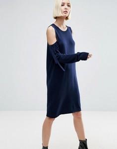 Трикотажное платье с вырезами на плечах ASOS - Темно-синий