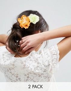 2 большие заколки для волос с цветами ASOS - Мульти