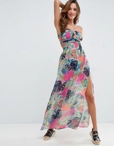 Шифоновое платье-бандо длины макси с оборками и принтом ASOS - Мульти