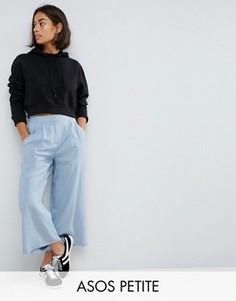 Тканая юбка-брюки со складками спереди ASOS PETITE - Синий