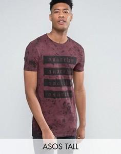 Длинная обтягивающая футболка с принтом спереди и выбеленным эффектом ASOS TALL - Красный