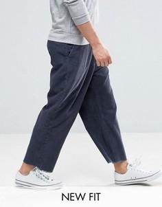 Темно-синие укороченные вельветовые брюки с широкими штанинами и необработанным краем ASOS - Темно-синий