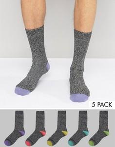 Набор из 5 пар толстых носков с контрастными вставками на носке и пятке ASOS - Мульти