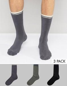 Набор из 3 пар махровых носков с полосками ASOS - Мульти