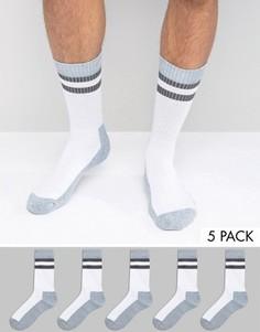 Набор из 5 пар носков в спортивном стиле ASOS - Белый