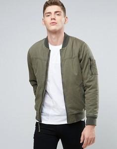 Саржевая куртка‑пилот оливкового цвета Hollister - Зеленый
