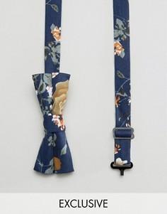 Темно-синий галстук-бабочка с цветочным принтом Reclaimed Vintage Inspired - Темно-синий