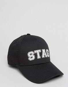 Черная бейсболка с принтом Stag ASOS - Черный