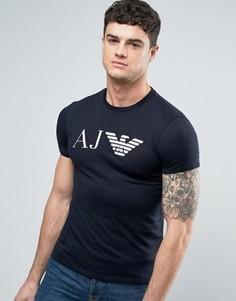 Темно-синяя узкая футболка с логотипом в виде орла Armani Jeans - Темно-синий