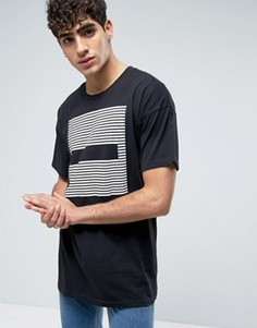Черная удлиненная футболка с полосками Dr Denim Marlon - Черный