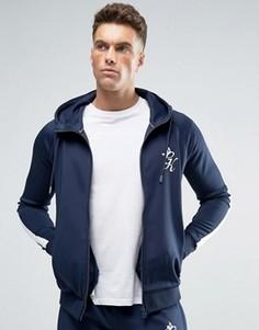 Обтягивающая темно-синяя спортивная куртка с капюшоном Gym King - Темно-синий