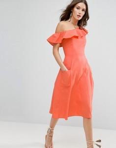 Сарафан на одно плечо с оборками ASOS - Розовый
