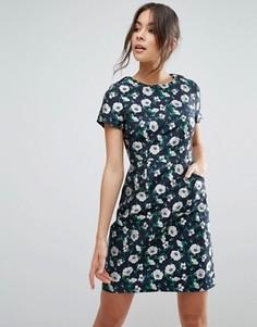 Жаккардовое платье-трапеция с цветочным принтом Uttam Boutique - Темно-синий