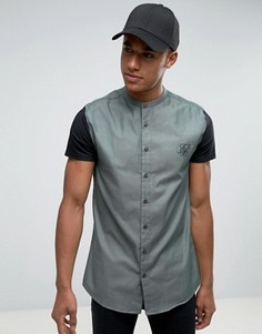 Рубашка скинни с трикотажными рукавами SikSilk - Зеленый