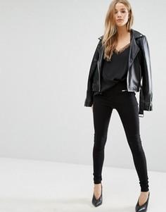 Узкие брюки с карманом на молнии New Look - Черный