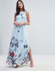 Платье макси с цветочным принтом и складками от горловины Uttam Boutique - Синий