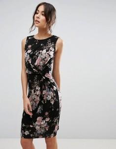 Платье с перекрутом на лифе и цветочным принтом Uttam Boutique - Черный