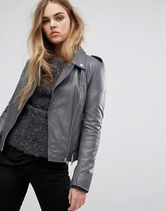 Кожаная байкерская куртка Muubaa Argal - Серый