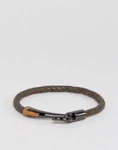 Кожаный плетеный браслет Ted Baker - Коричневый