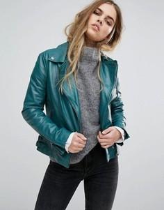 Кожаная байкерская куртка Muubaa Chello - Зеленый
