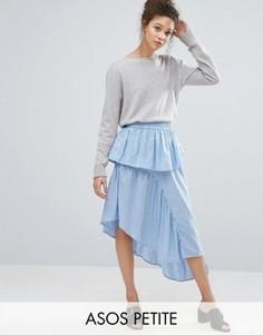 Асимметричная юбка миди в полоску ASOS PETITE - Синий