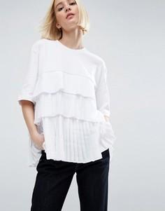 Атласная футболка с контрастной тюлевой вставкой плиссе ASOS WHITE - Мульти