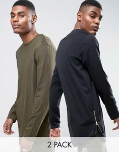 2 супердлинных футболки с закругленным низом на молниях (черная, зеленая) ASOS - СКИДКА - Мульти