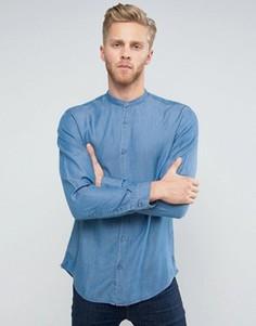 Приталенная рубашка с горловиной на пуговице Selected Homme - Синий