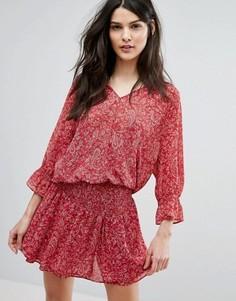Платье с ярусной юбкой и принтом BA&SH - Красный Ba&Sh
