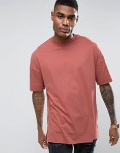 Красная длинная свободная футболка с отворотами ASOS - Красный