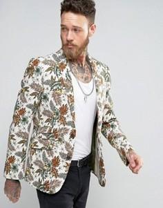 Приталенный пиджак с цветочным принтом Devils Advocate - Бежевый