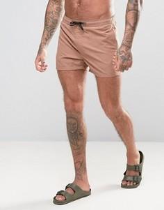 Короткие шорты для плавания табачного цвета ASOS - Коричневый