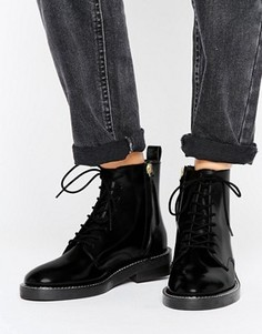 Кожаные ботинки со шнурками ASOS ANTARTICA - Черный