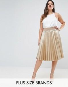Плиссированная юбка цвета металлик Elvi Premium - Золотой