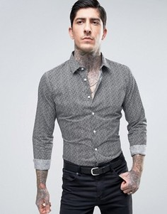 Узкая рубашка с геометрическим принтом Devils Advocate - Черный