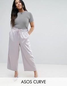 Широкие атласные брюки ASOS CURVE - Фиолетовый