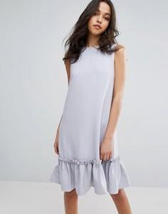 Цельнокройное платье с оборкой и отделкой из искусственного жемчуга Lost Ink - Фиолетовый