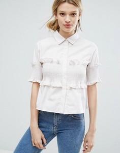 Рубашка с короткими рукавами и оборкой Lost Ink - Бежевый