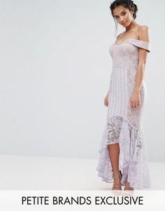 Кружевное платье с открытыми плечами и асимметричным подолом Jarlo Petite - Фиолетовый