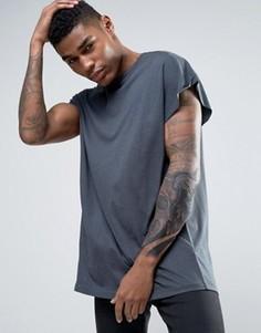 Черная выбеленная футболка-oversize удлиненного кроя с отворотами ASOS - Черный