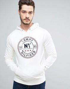 Худи белого цвета с логотипом в круге Tommy Hilfiger - Белый