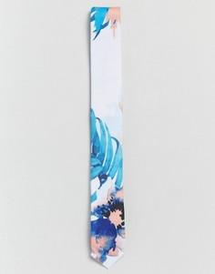 Галстук с цветочным принтом ASOS WEDDING - Белый