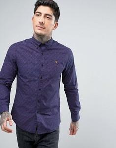 Темно-синяя рубашка слим с принтом пейсли Farah - Темно-синий