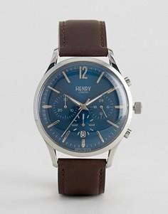 Часы-хронограф с коричневым кожаным ремешком Henry London Knightsbridge - Коричневый