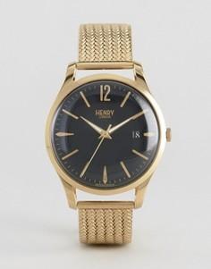 Золотистые часы с сетчатым ремешком Henry London Westminster - Золотой