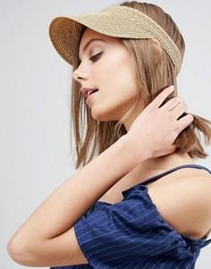 Соломенная шляпа-козырек цвета розового золота ASOS - Золотой